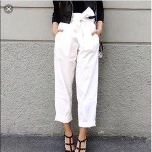 Zara pearl paper bag denim pants